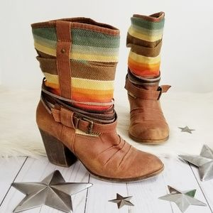 Mossimo rainbow boots brown heeled striped 6.5